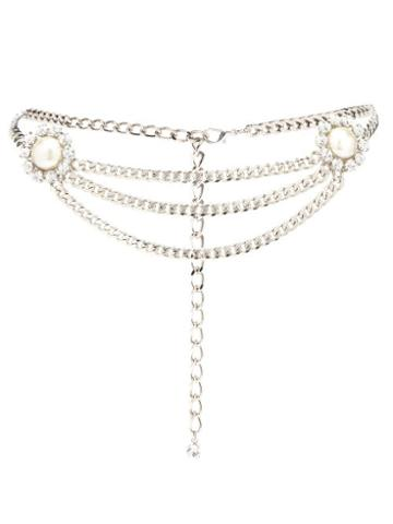 Matchesfashion.com Alessandra Rich - Faux-pearl And Crystal Curb-chain Belt - Womens - Silver