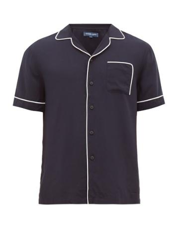 Matchesfashion.com Frescobol Carioca - Piped Open Collar Poplin Shirt - Mens - Navy