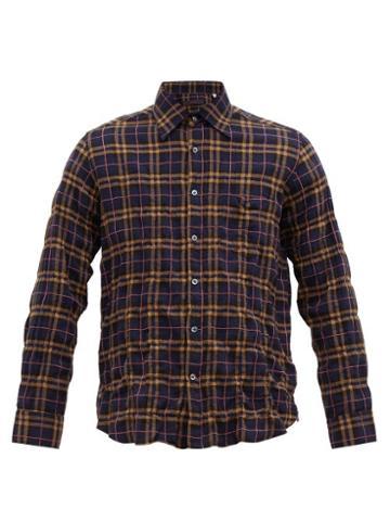 Matchesfashion.com The Gigi - Check Embroidered Created Cotton Blend Shirt - Mens - Navy Multi
