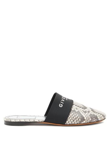 Matchesfashion.com Givenchy - Bedford Python-effect Leather Mules - Womens - White Black