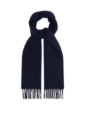 Matchesfashion.com Lanvin - Fringed Wool Scarf - Mens - Navy