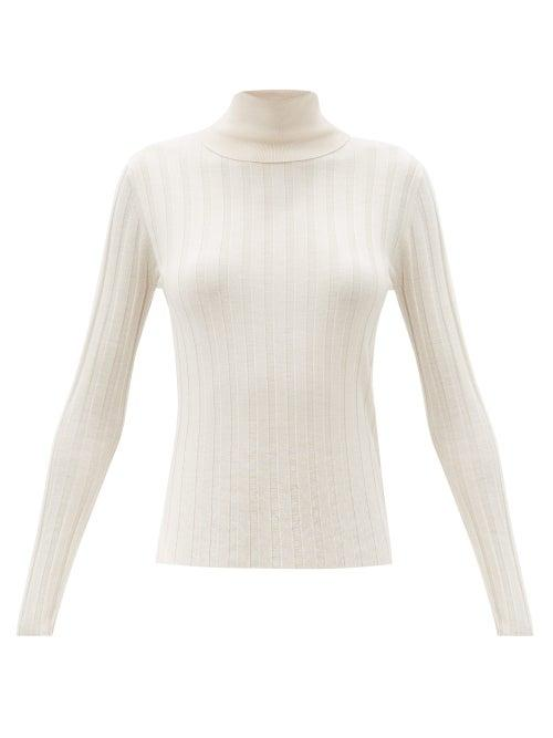 Matchesfashion.com Allude - Roll-neck Wide-rib Wool Sweater - Womens - Cream