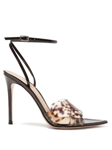 Matchesfashion.com Gianvito Rossi - Leopard Print Strap 105 Patent Leather Sandals - Womens - Leopard
