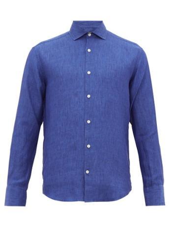 Matchesfashion.com Frescobol Carioca - Slubbed Linen Poplin Shirt - Mens - Navy