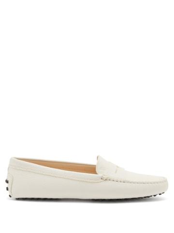 Tod's - Gommini Grained-leather Loafers - Womens - White