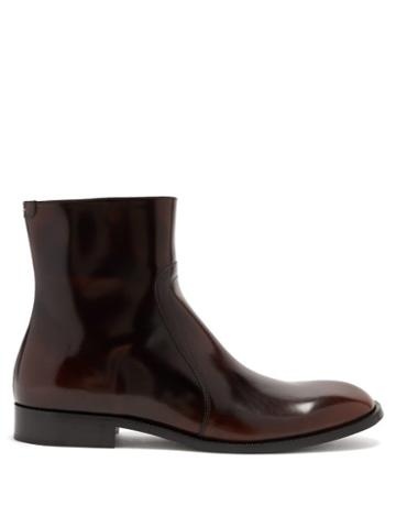 Matchesfashion.com Maison Margiela - Patent Cordovan-leather Ankle Boots - Mens - Black Brown