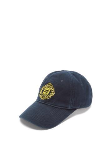 Balenciaga - Crest-embroidered Cotton-twill Cap - Mens - Navy