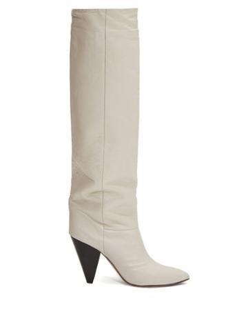 Matchesfashion.com Isabel Marant - Loens Slouchy Knee-high Leather Boots - Womens - White