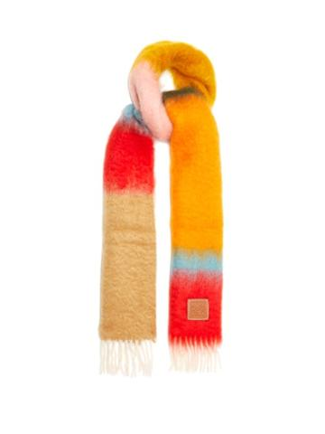 Loewe - Striped Brushed Mohair-blend Scarf - Womens - Pink Multi