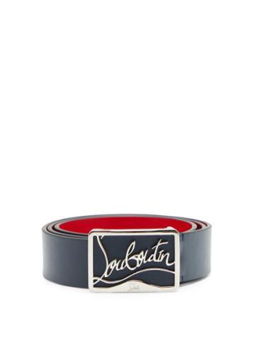 Matchesfashion.com Christian Louboutin - Ricky Logo-plaque Leather Belt - Mens - Navy Multi