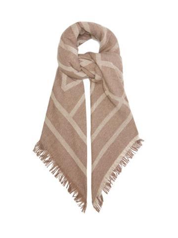 Matchesfashion.com Totme - Monogram-jacquard Wool-blend Scarf - Womens - Brown