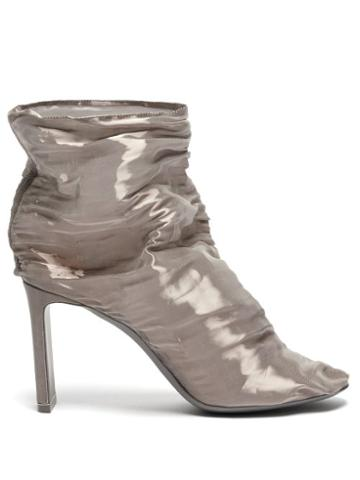 Matchesfashion.com Nicholas Kirkwood - D'arcy Gathered Metallic Tulle Boots - Womens - Silver