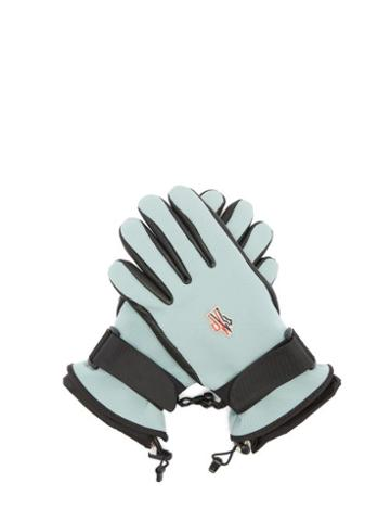 Matchesfashion.com Moncler Grenoble - Logo Patch Twill And Leather Ski Gloves - Womens - Light Blue