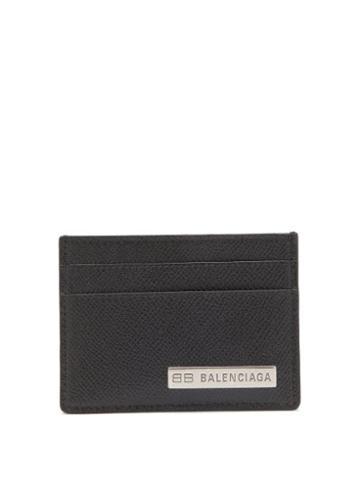 Balenciaga - Logo-plaque Grained-leather Cardholder - Mens - Black