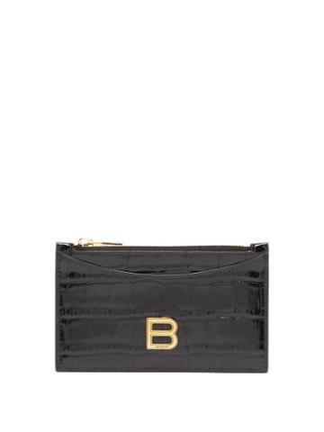 Balenciaga - Hourglass Zipped Croc-effect Leather Cardholder - Womens - Black