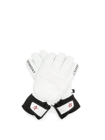 Matchesfashion.com Perfect Moment - Logo-embroidered Leather Ski Gloves - Womens - White