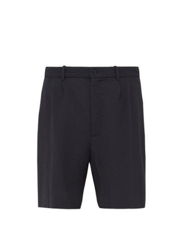 Matchesfashion.com Raey - Seersucker Stretch Wool Shorts - Mens - Navy