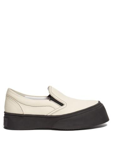 Matchesfashion.com Marni - Exaggerated Sole Low Top Canvas Trainers - Womens - Cream