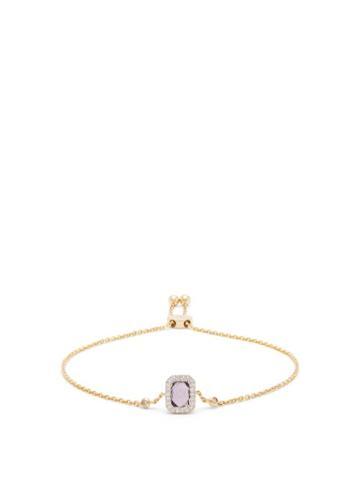 Matchesfashion.com Anissa Kermiche - February Diamond, Amethyst & Gold Chain Bracelet - Womens - Purple