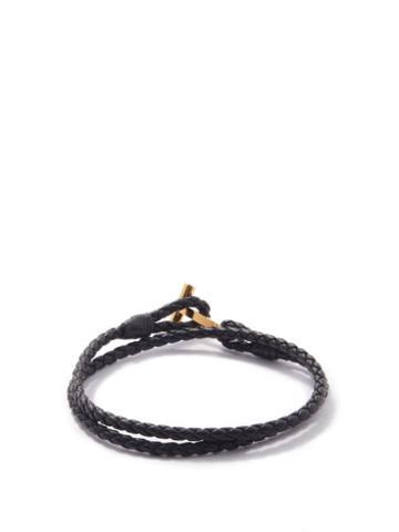 Tom Ford - T-bar Woven Leather Bracelet - Mens - Black