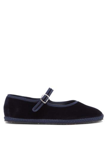 Matchesfashion.com Vibi Venezia - Mary-jane Velvet Furlane Flats - Womens - Navy