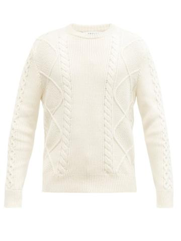 Matchesfashion.com Frame - Cable-knit Cotton-blend Sweater - Mens - Cream
