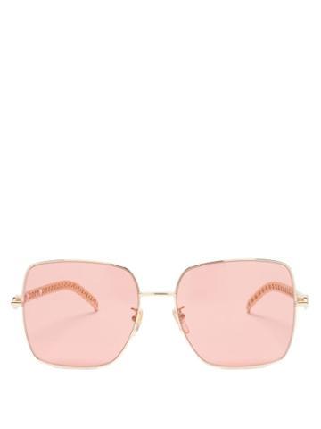 Gucci - Square Metal Sunglasses - Womens - Orange
