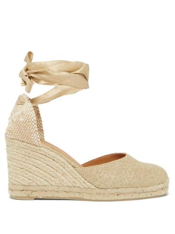 Matchesfashion.com Castaer - Carina 80 Canvas And Jute Espadrille Wedges - Womens - Gold