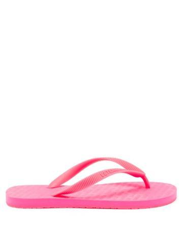Matchesfashion.com Vetements - Logo-embossed Rubber Flip Flops - Womens - Pink