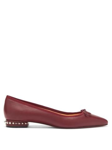 Matchesfashion.com Christian Louboutin - Hall Spike-embellished Leather Ballet Flats - Womens - Burgundy