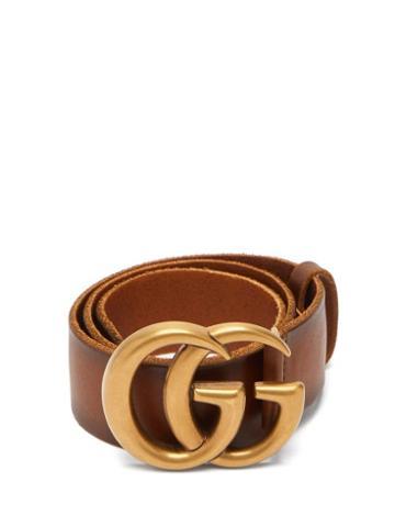 Matchesfashion.com Gucci - Gg-logo Leather Belt - Womens - Tan