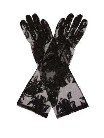 Matchesfashion.com Ann Demeulemeester - Floral Lace Gloves - Womens - Black