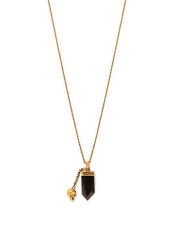 Matchesfashion.com Alexander Mcqueen - Crystal And Skull-charm Metal Necklace - Mens - Gold