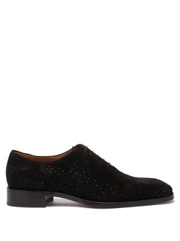 Matchesfashion.com Christian Louboutin - Corteo Crystal-studded Suede Oxford Shoes - Mens - Black