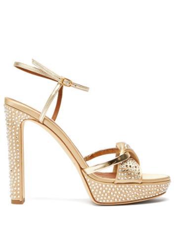 Matchesfashion.com Malone Souliers - Lauren Crystal Embellished Satin Platform Sandals - Womens - Gold