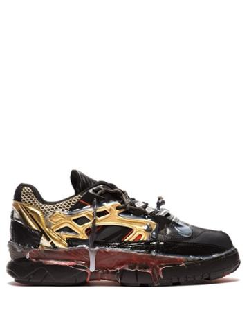 Matchesfashion.com Maison Margiela - Fusion Leather And Mesh Trainers - Mens - Black Red