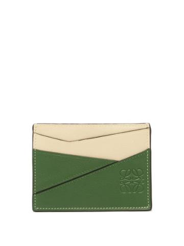 Matchesfashion.com Loewe - Puzzle Leather Cardholder - Womens - Green White