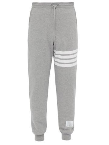 Matchesfashion.com Thom Browne - Striped Cotton Jersey Track Pants - Mens - Light Grey