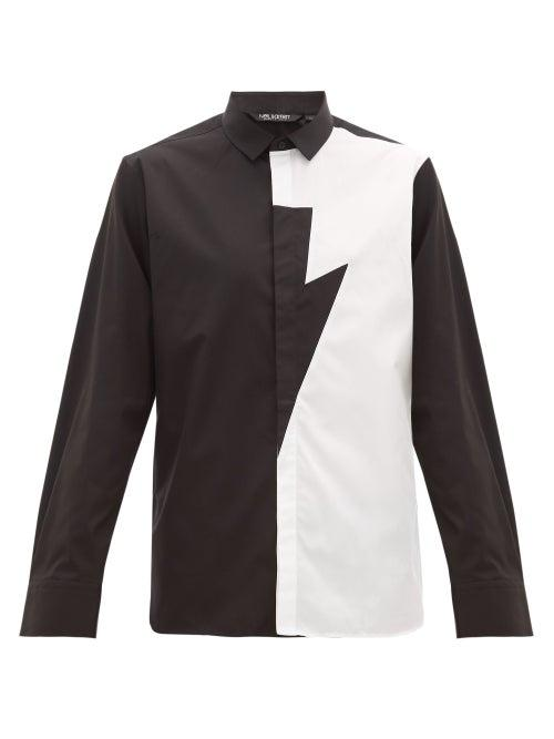 Matchesfashion.com Neil Barrett - Lightning Bolt Cotton Poplin Shirt - Mens - Black White