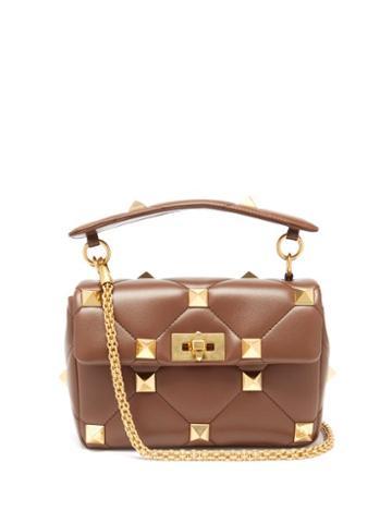 Matchesfashion.com Valentino Garavani - Roman Stud Medium Quilted-leather Shoulder Bag - Womens - Brown