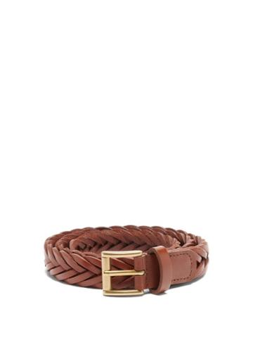 Anderson's - Braided-leather Belt - Mens - Brown