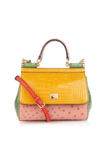 Dolce & Gabbana Sicily Crocodile And Ostrich Cross-body Bag