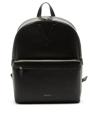 Versace - V-appliqu Textured-leather Backpack - Mens - Black