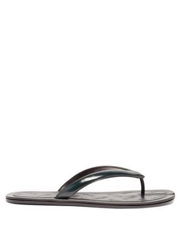 Matchesfashion.com Maison Margiela - Tabi Split-toe Leather Flip Flops - Mens - Dark Green