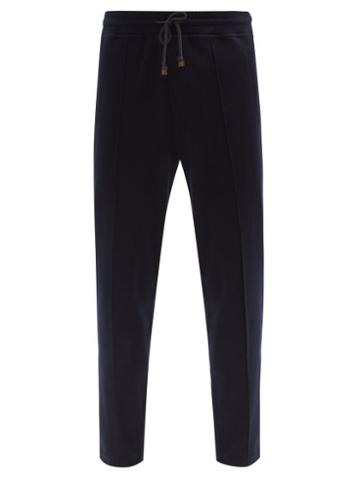 Matchesfashion.com Brunello Cucinelli - Pintucked Cashmere-blend Jersey Track Pants - Mens - Navy