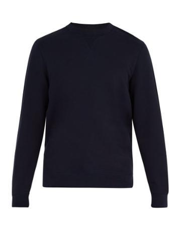 Matchesfashion.com Sunspel - Crew Neck Cotton Sweatshirt - Mens - Navy