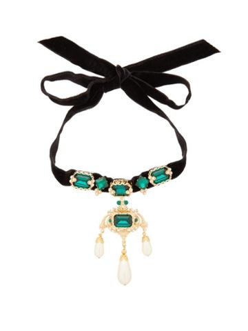 Matchesfashion.com Dolce & Gabbana - Crystal And Faux Pearl Embellished Velvet Necklace - Womens - Black
