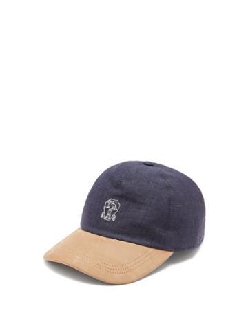 Matchesfashion.com Brunello Cucinelli - Crest-embroidered Denim And Suede Cap - Mens - Blue