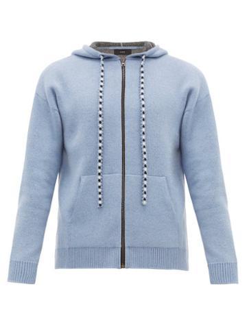 Matchesfashion.com Alanui - Bandana Wool Blend Hooded Sweatshirt - Mens - Blue