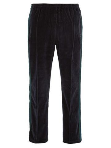 Matchesfashion.com Needles - Velour Side Striped Track Pants - Mens - Navy